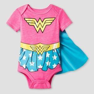 WONDER WOMAN Baby Girl's Pink Bodysuit & Cape NEW